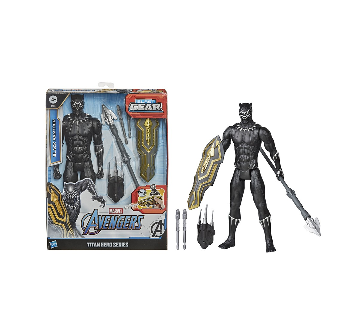 Marvel Avengers Titan Hero Series Blast Gear Black Panther Action Figure Play Sets for Boys age 4Y+