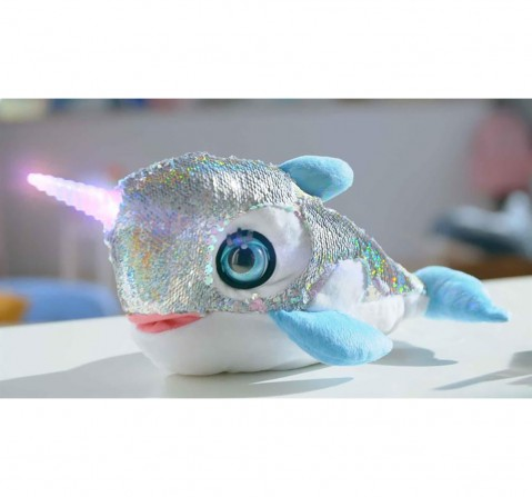 Dimian Stella Narwahl Story Telling Interactive Soft Toy for Kids age 3Y+ - 36 Cm (Silver)