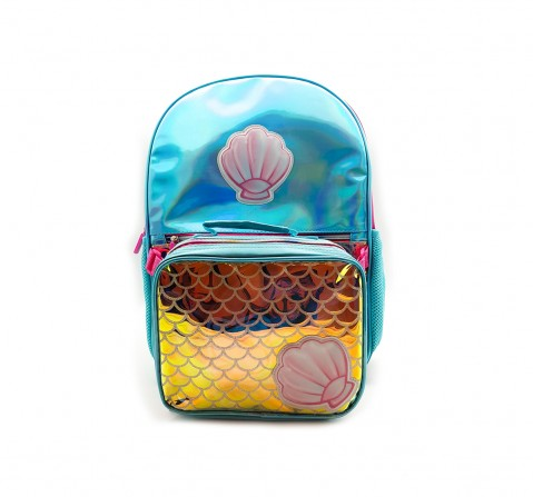Hamster London Shiny Shell Backpack with Tiffin Bag for Girls age 3Y+ (Blue)
