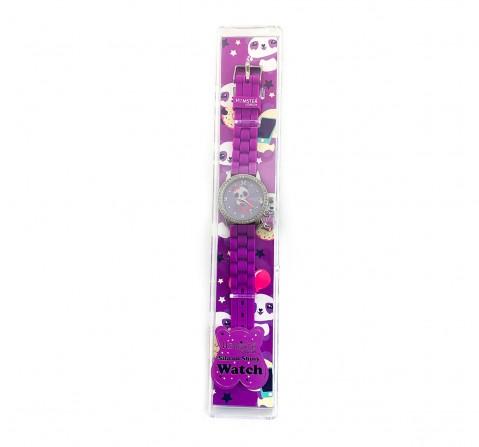 Hamster London Diamond Studded Panda Watch for Kids age 3Y+ (Purple)