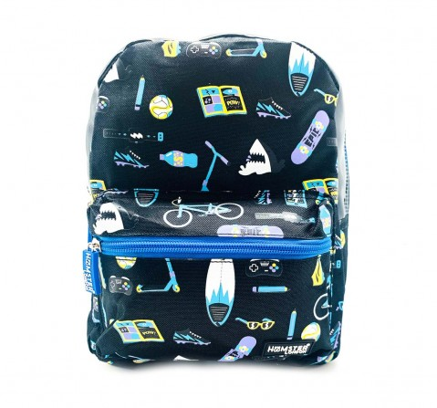 Hamster London Straight Fire Backpack Small Shark Bags for Kids Age 3Y+ (Black)