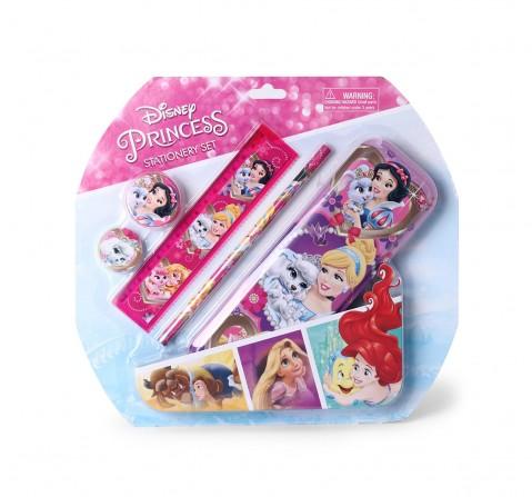 Disney Princess Stationery Set/Kit of 5 pencil, pencil case, sharpener, ruler, eraser, Quirky Soft Toys for Girls age 3Y+ - 26.4 Cm