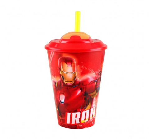 Marvel Story 3D straw Tumbler Avengers Iron Man Quirky Soft Toys for Boys age 3Y+ - 17 Cm (Red), 415 ml
