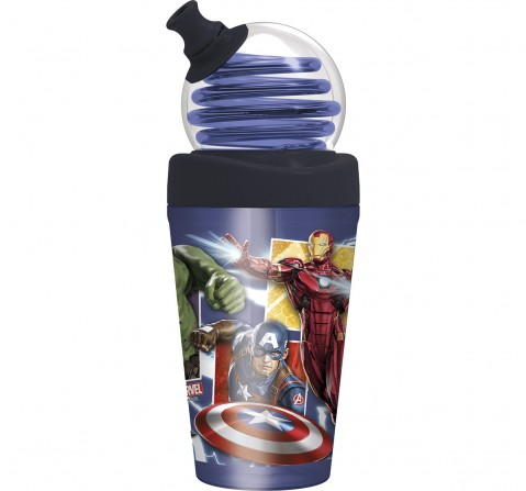 Marvel Story Looping Straw Tumbler Avengers Panels, Water Bottles & Sipper for Boys age 3Y+ ,420 ml