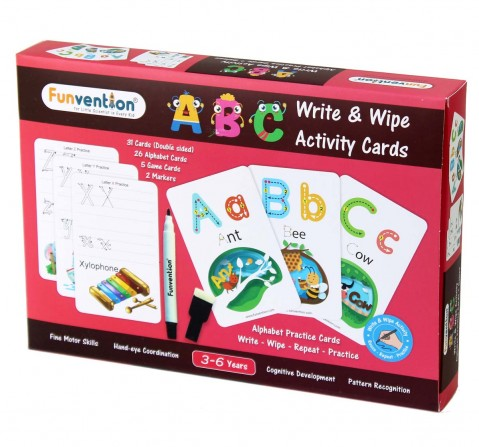 Funvention Write & Wipe Activity - Abc Alphabets Science Kits for Kids Age 3Y+