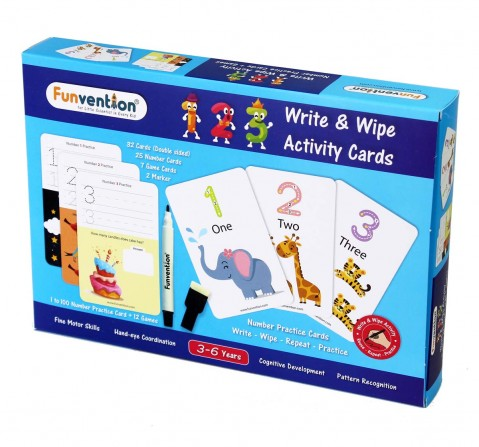 Funvention Write & Wipe Activity - 123 Numbers Science Kits for Kids Age 3Y+