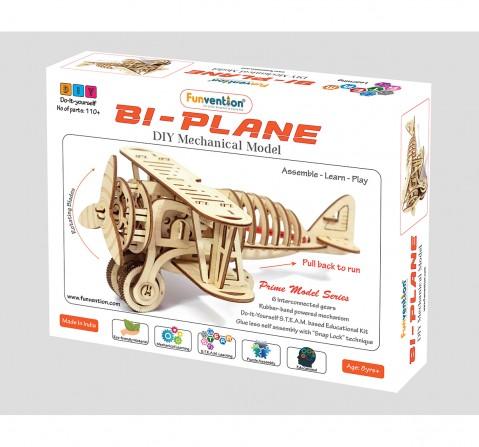 Funvention Bi-Plane - Diy Mechanical Model (Prime Series) Stem for Kids Age 8Y+