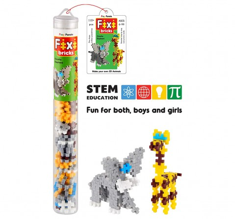 Play Panda Fixi Bricks Jungle Tube 1 Elephant And Giraffe With 110 Pcs, Detailed Assembly Instructions And Storage Tube Small Parts (Age 799 Years), Unisex, 4Y+ (Multicolor)