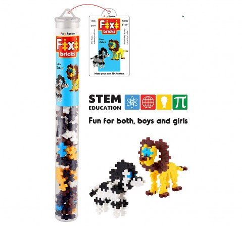 Play Panda Fixi Bricks Jungle Tube 2 Lion And Zebra With 110 Pcs, Detailed Assembly Instructions And Storage Tube Small Parts (Age 799 Years), Unisex, 6Y+ (Multicolor)