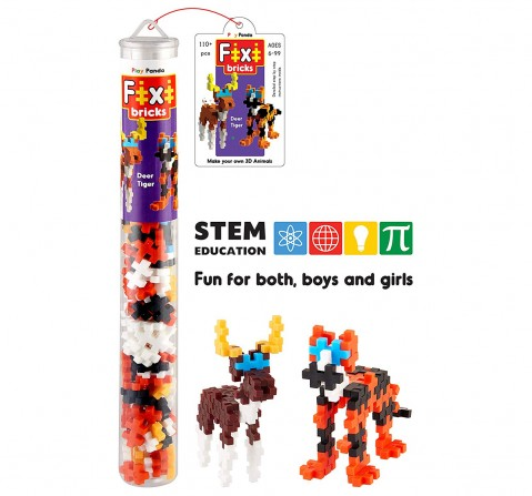 Play Panda Fixi Bricks Jungle Tube 3 Tiger And Deer With 110 Pcs, Detailed Assembly Instructions And Storage Tube Small Parts (Age 799 Years), Unisex, 6Y+ (Multicolor)
