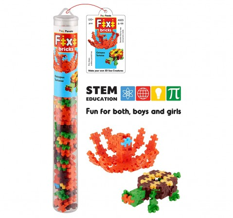 Play Panda Fixi Bricks Aqua Tube 2 Octopus And Tortoise With 120 Pcs, Detailed Assembly Instructions And Storage Tube Small Parts (Age 799 Yrs), Unisex, 6Y+ (Multicolor)