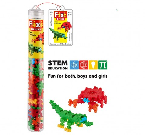Play Panda Fixi Bricks Aqua Tube 3 Crocodile And Crab With 120 Pcs, Detailed Assembly Instructions And Storage Tube Small Parts (Age 799 Yrs), Unisex, 6Y+ (Multicolor)