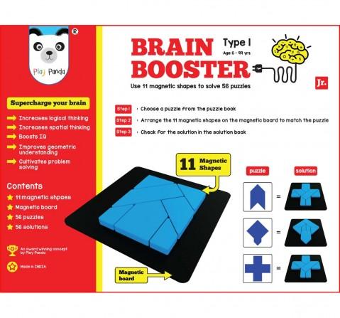 Play Panda Brain Booster Type 1 (Junior) - 56 Puzzles Designed To Boost Intelligence - With Magnetic Shapes, Magnetic Board, Puzzle Book And Solution Book Puzzles for Kids Age 6Y+