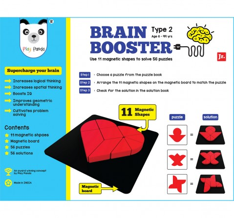 Play Panda Brain Booster Type 2 (Junior) - 56 Puzzles Designed To Boost Intelligence - With Magnetic Shapes, Magnetic Board, Puzzle Book And Solution Book Puzzles for Kids Age 6Y+