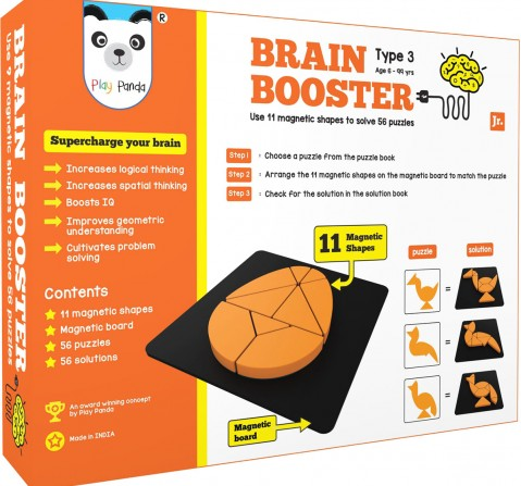 Play Panda Brain Booster Set 3 (Junior) - 56 Puzzles Designed To Boost Intelligence - With Magnetic Shapes, Magnetic Board, Puzzle Book And Solution Book Puzzles for Kids Age 6Y+