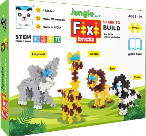 Play Panda Fixi Puzzle Jungle Set 1 - 4 Make And Play Puzzles - With 240 Pcs And Detailed Assembly Instructions - Small Parts (Age 6-99 Years) Puzzles for Kids Age 6Y+