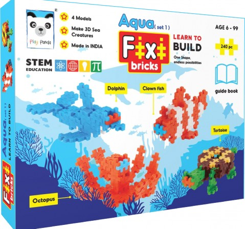 Play Panda Fixi Puzzle Aqua Set 1 - 4 Make And Play Puzzles - With 240 Pcs And Detailed Assembly Instructions - Small Parts (Age 6-99 Years) Puzzles for Kids Age 6Y+