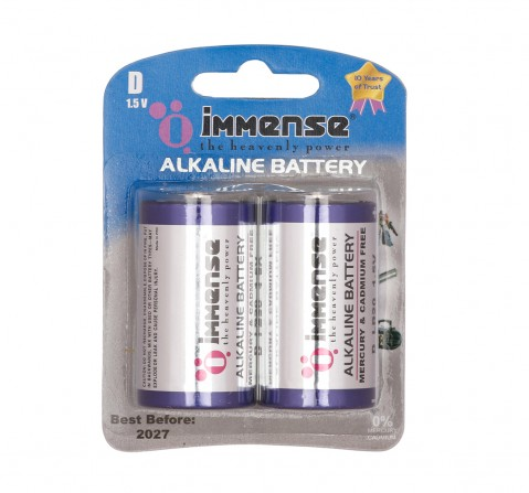 Immense D type Alkaline battery Pack of 2, 3Y+