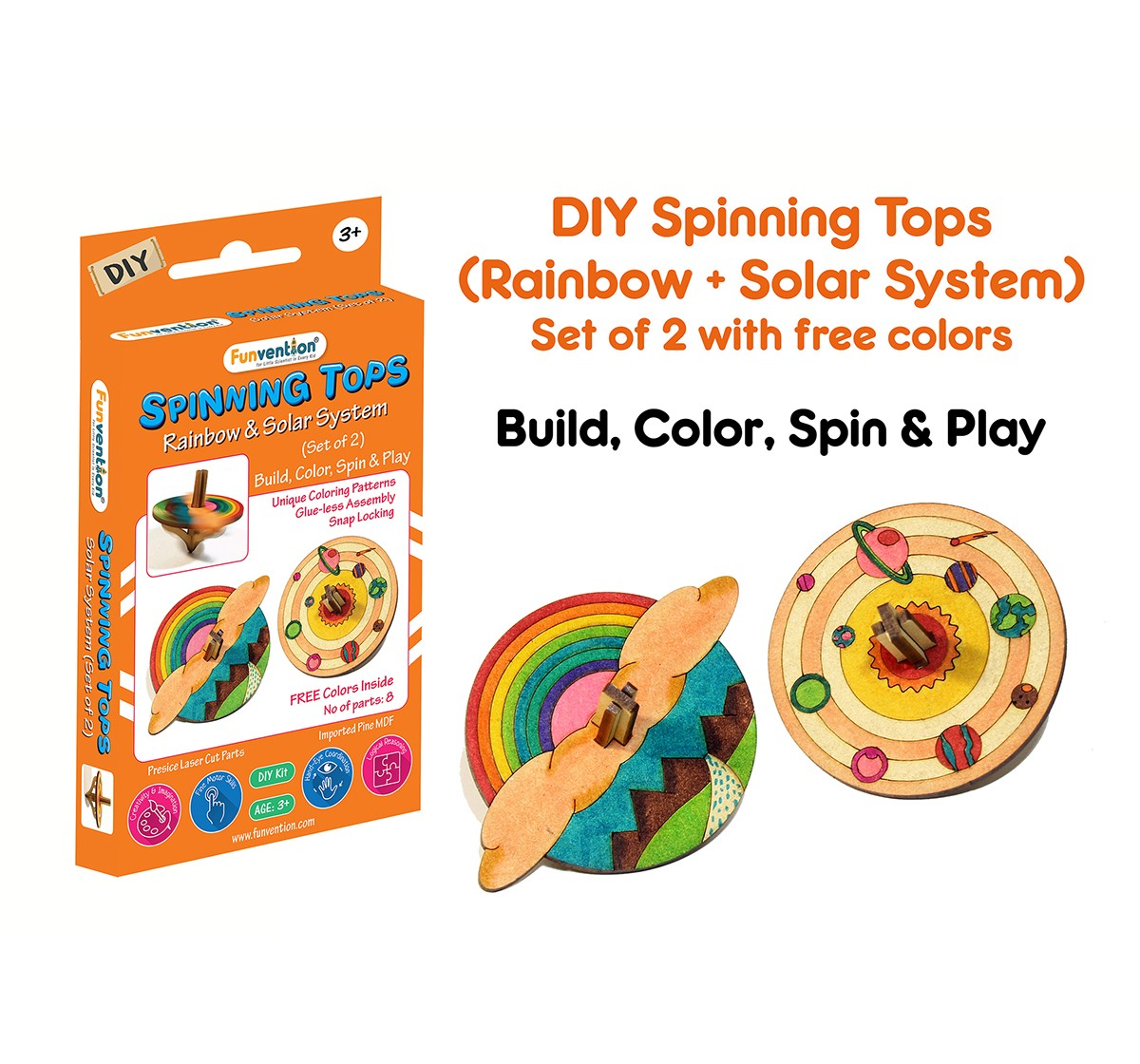 Funvention  DIY Spinning Top Kits Solar System &Rainbow Science Kits for Kids age 3Y+