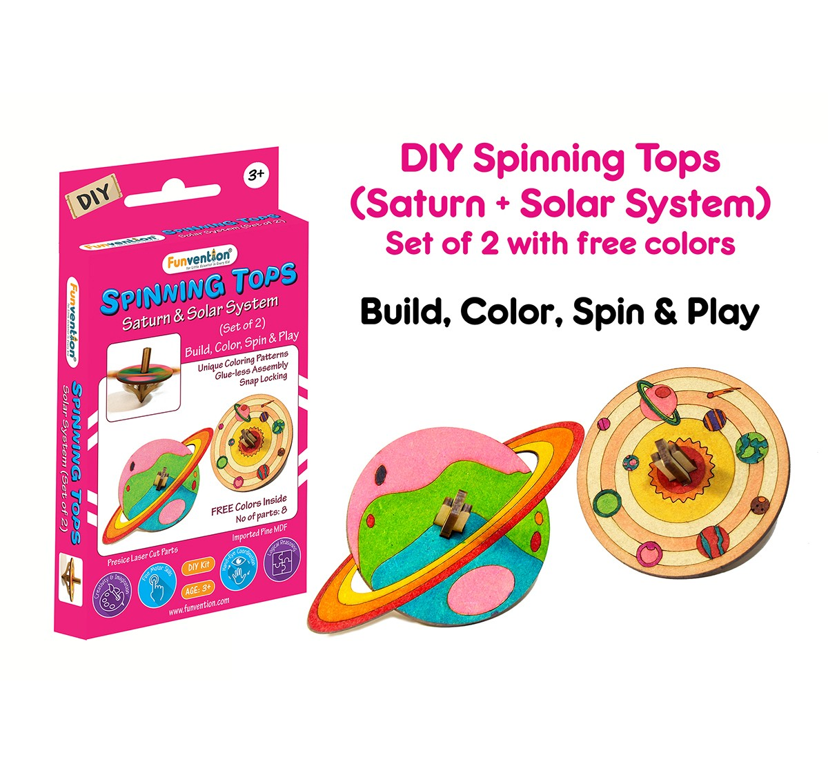 Funvention  DIY Spinning Top Kits Solar System & Saturn Science Kits for Kids age 3Y+