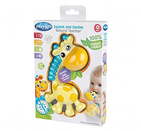 Playgro squeak and soothe natural teether New Born for Kids age 3Y+