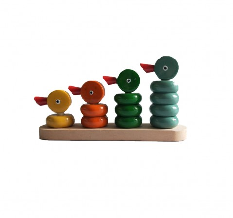 Nurture India Wooden Duck Counting Set 4 Wooden Toys for Kids age 12M+