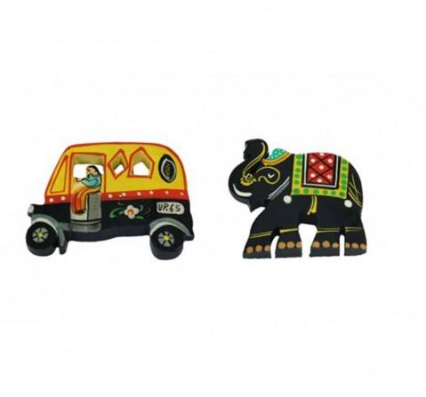 Desi Toys Fridge Magnets Handpainted, Fridge Chumbak Pack Of 2 Classic Games for Kids age 3Y+