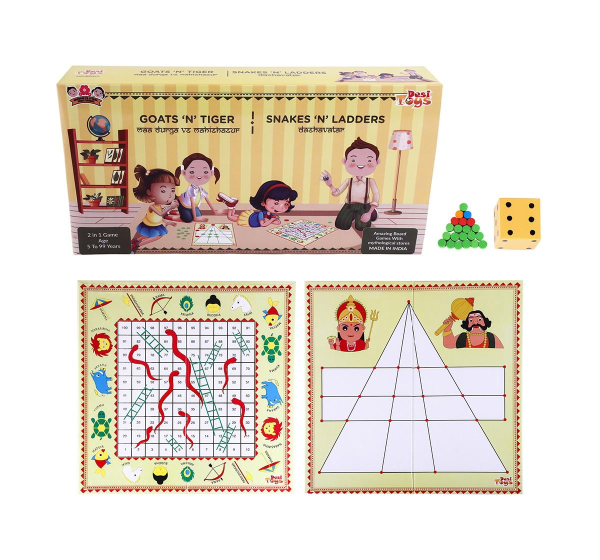 Desi Toys 2 In 1 Strategy Game Of Goats N Tigers & Snakes N Ladders Classic Games for Kids age 5Y+