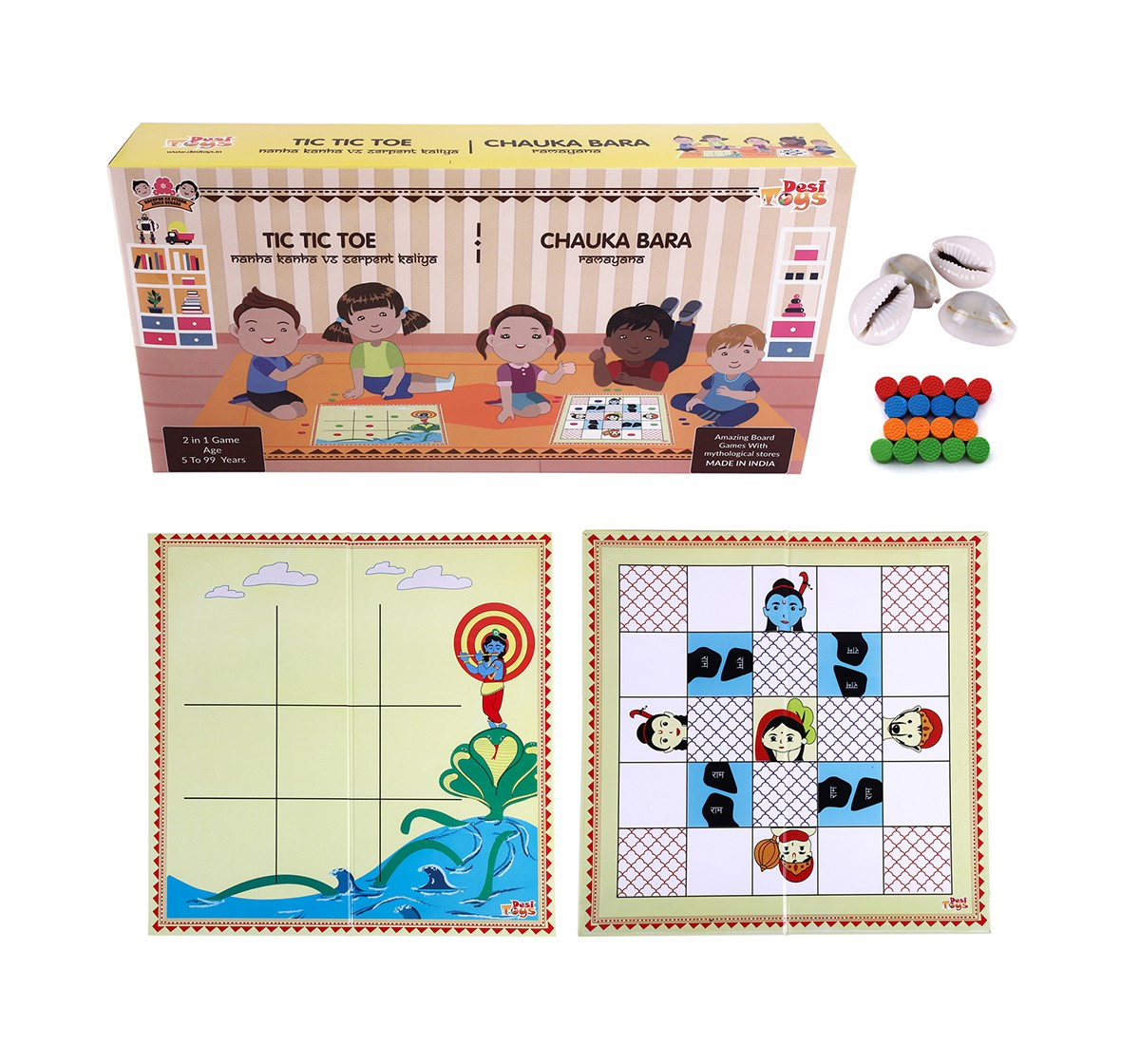 Desi Toys 2 In 1 Strategy Game Of Tic Tac Toe And Chauka Bara Classic Game for Kids age 5Y+