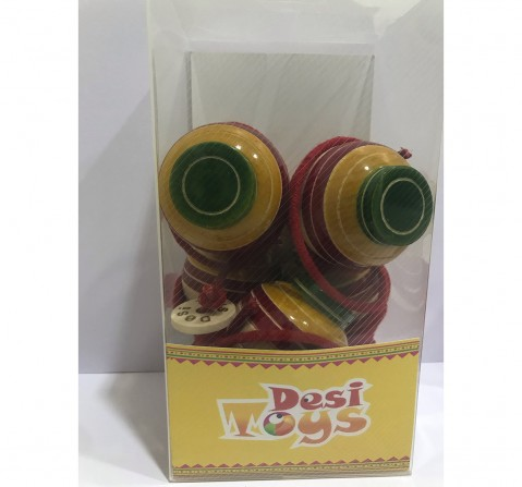 Desi Toys Spinning Top/Lattu Pack Of 5 Classic Game for Kids age 5Y+ (Red)