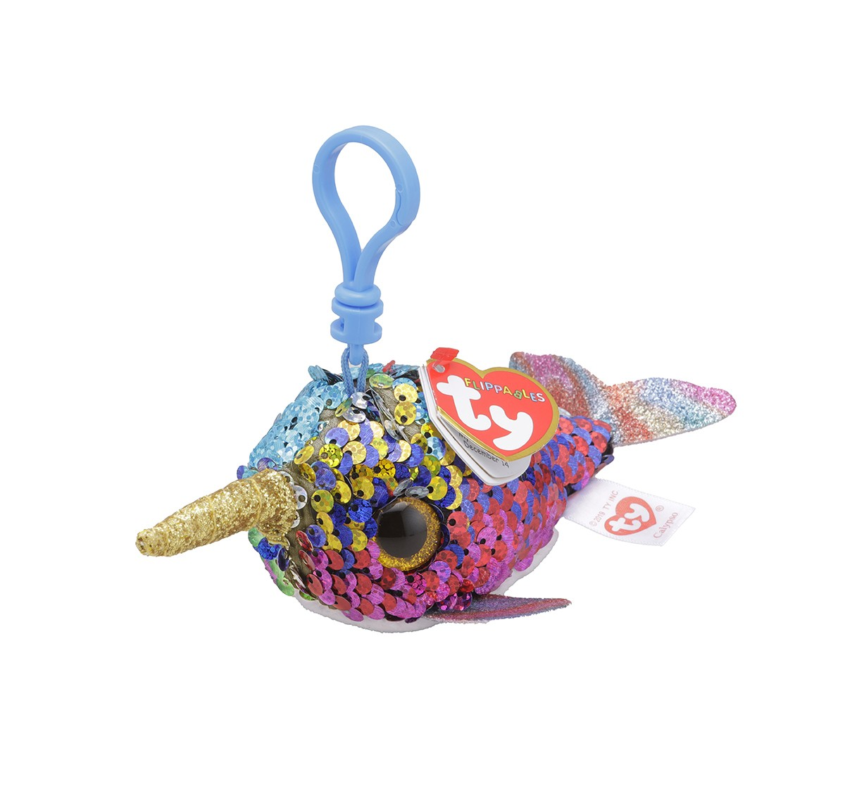 Ty CALYPSO - Flippables Narwhal Clip Plush Accessories for Kids age 3Y+ - 8.5 Cm