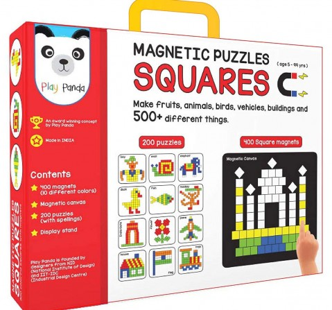 Play Panda Magnetic Puzzles : Squares With 400 Colorful Magnets, 200 Puzzle Book, Magnetic Board And Display Stand Puzzles for Kids Age 5Y+