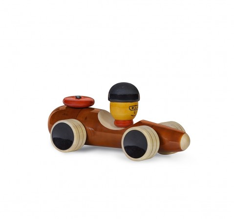Folktales Handmade Wooden Vroom Toy 2 Wooden Toys for Kids age 1Y+ (Brown)