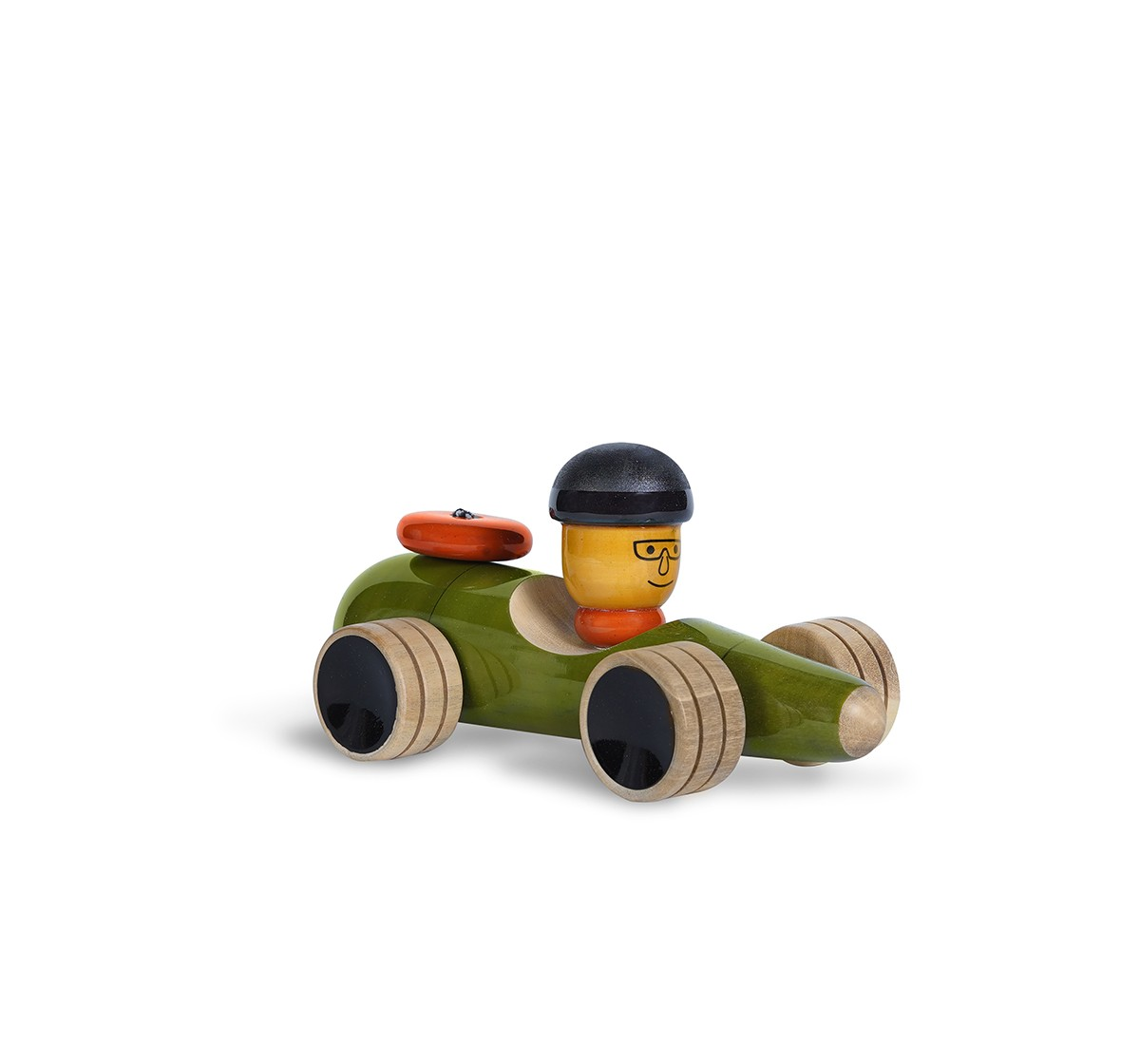 Folktales Handmade Wooden Vroom Toy 3 Wooden Toys for Kids age 1Y+ (Green)