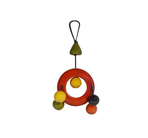 Folktales Handmade Wooden Dangler Ring 2 Wooden Toys for Kids age 0M+ (Red)