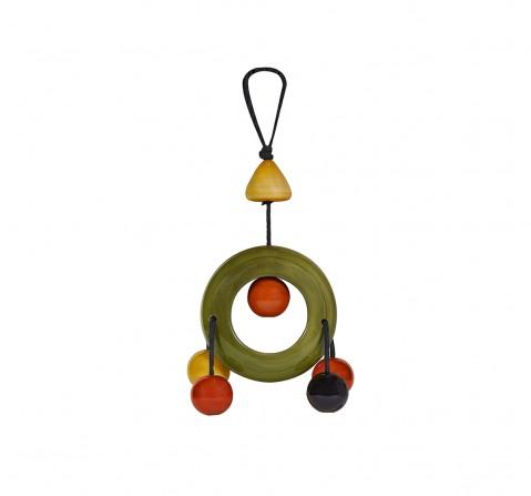 Folktales Handmade Wooden Dangler Ring 3 Plush Accessories for Kids age 0M+ - 2.032 Cm (Green)