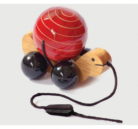 Fairkraft Creations Handmade Wooden Tuttu Turtle Pull Toy 1 Wooden Toys for Kids age 18M + (Red)