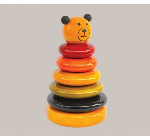 Fairkraft Creations Handmade Cubby Wooden 5-Ring Stacker Toy 1 Wooden Toys for Kids age 1Y+