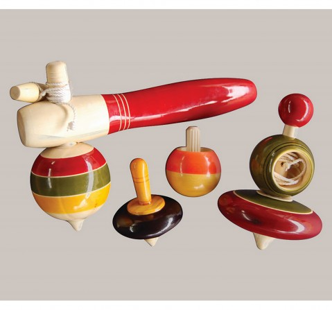 Fairkraft Creations Handmade Wooden Merry Tops Toy 1 Wooden Toys for Kids age 5Y+ (Red)