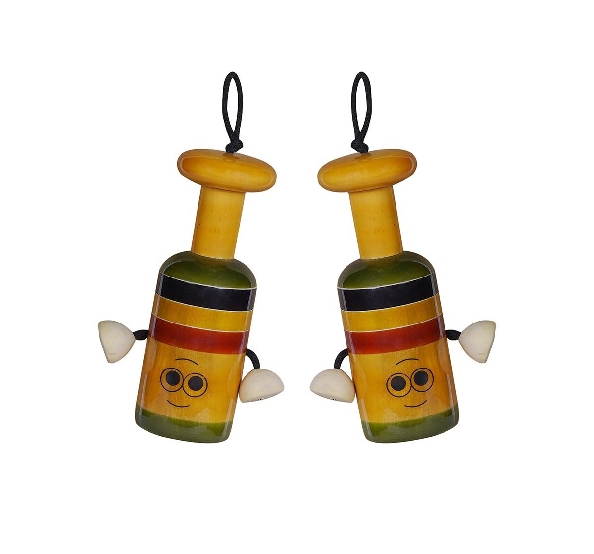 Folktales Handmade Wooden Bell Rattle 2 Wooden Toys for Kids age 0M+