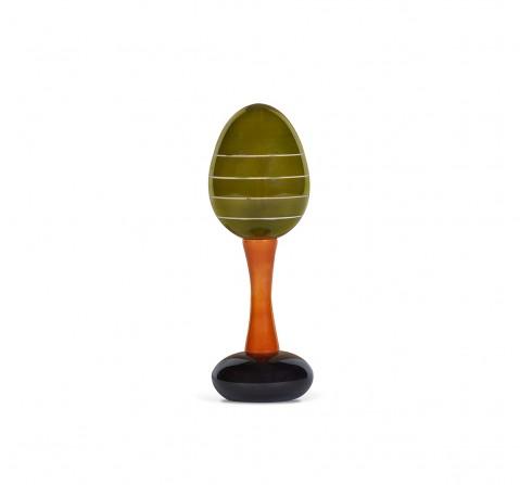 Folktales Handmade Wooden Maraca Rattle 2 Wooden Toys for Kids age 0M+ (Green)