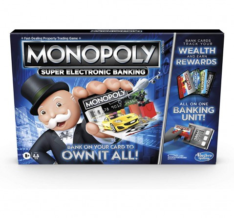 Hasbro Gaming Monopoly Super Electronic Banking Board Game, Electronic Banking Unit, Choose Your Rewards, Cashless Gameplay Tap Technology, for Ages 8 and Up