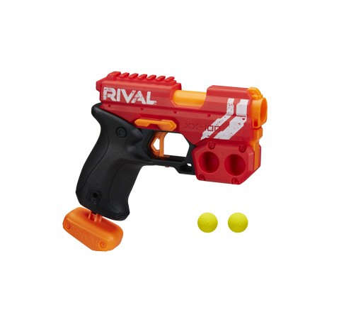 Nerf Rival Knockout XX-100 Blaster Toy Gun Assorted -- Round Storage, 90 FPS Velocity, Breech Load  -- Includes 2 Official Nerf Rival Rounds -- Team Red Blasters for Kids age 14Y+