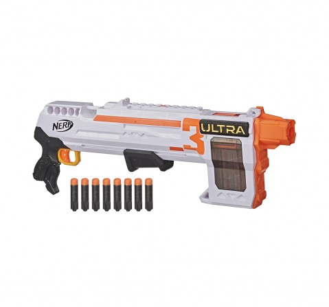 Nerf Ultra Three Blaster, Pump-Action, 8-Dart Internal Clip, 8 Nerf Ultra Darts, Compatible Only with Nerf Ultra Darts Blasters for BOYS age 8Y+