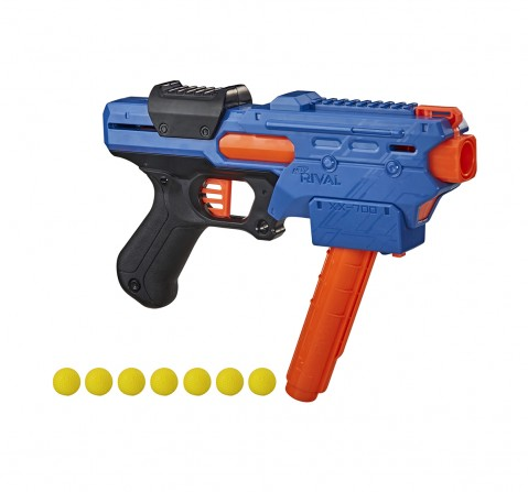 Nerf Rival Finisher XX-700 Blaster Toy Gun -- Quick-Load Magazine, Spring Action, Includes 7 Official Nerf Rival Rounds -- Team Blue Blasters for Kids age 14Y+
