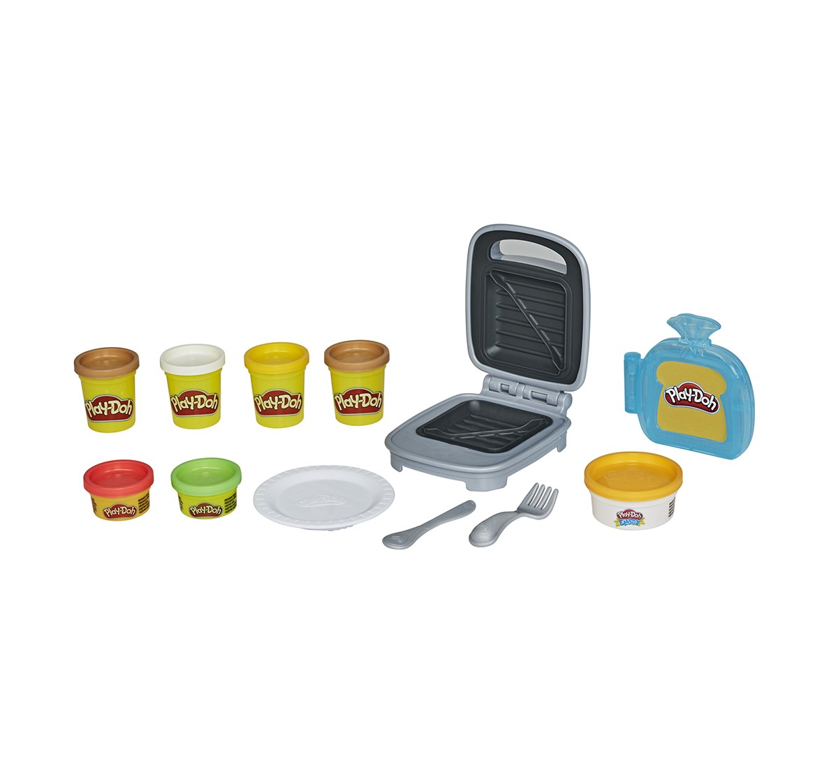 Play-Doh Kitchen Creations Cheesy Sandwich Play Food Set for Kids 3 Years and Up With Play-Doh Elastix Compound and 6 Additional Colors Clay & Dough for Kids age 3Y+