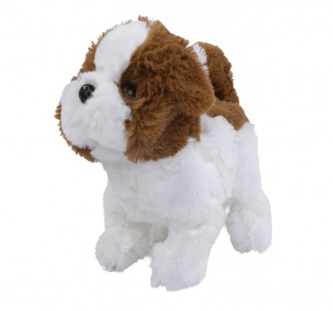 Hamleys Movers & Shakers Baby Saint Bernard Plush Soft Dog (White & Brown), 3Y+