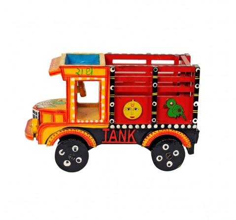 Craft & Culture Wooden Truck Handpainted M Assorted Quirky Soft Toy for Kids age 3Y+ - 11 Cm