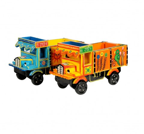 Craft & Culture Wooden Truck Handpainted L Assorted Wooden Toys for Kids age 3Y+