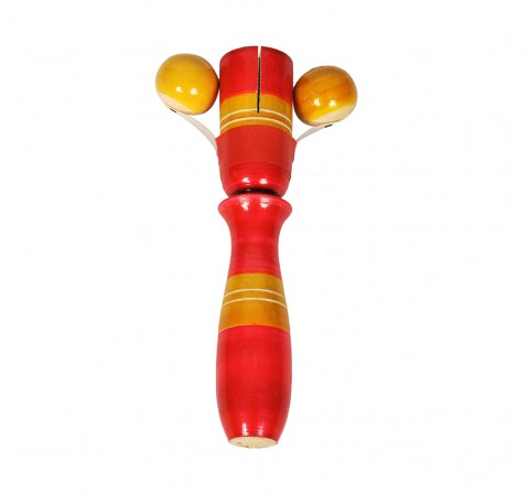 Craft & Culture Wooden Damroo Rattle Assorted  Toy for Kids age 0M+